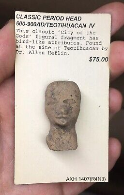 Pre-Columbian Terracotta Anthropomorphic Avian Ancient Fragment Face Head Potter