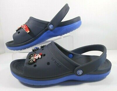 CROCS Boys Rubber Shoes Sz J3 Slip On with 7 Colorful Jibbitz Navy & Blue  #B