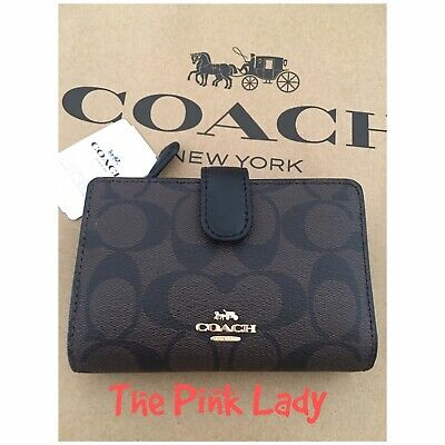 Coach 💯%Authentic Leather Medium Corner Zip Coin Cards Wallet In Brown Black