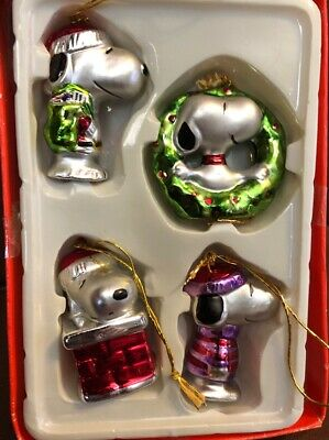 Snoopy Peanuts Charlie Brown Kurt Adler Ceramic Christmas Mini Ornament Set