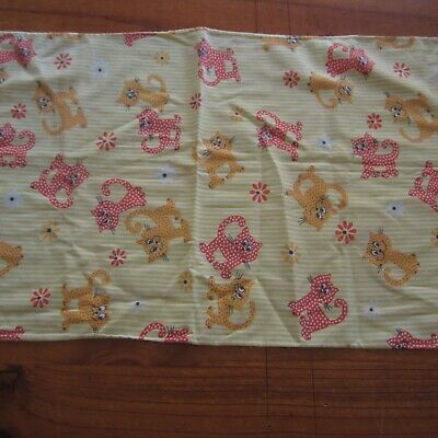 Baby Cot Pillow Slip Pillowcase Novelty Cat Cotton Fabric Red Yellow Vintage