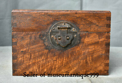 """7.2"""" Old China Huanghuali Wood Inlay Shell Dynasty Palace jewelry Box chest"""