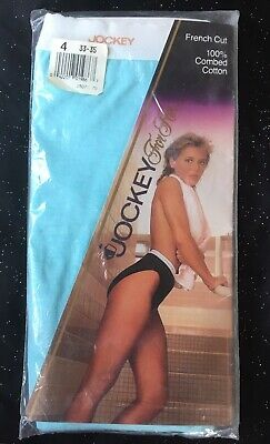Vtg Jockey For Her Blue French Hi Cut Brief Panties Womens Size 4 Cotton 1988