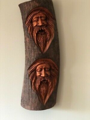 Intricate Hand Carved, Double Face Mustached Man Face (Caribbean Wood Carving)