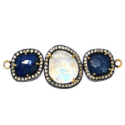Moonstone/Sapphire Gemstone .925 Silver Diamond Pave 14 K Gold Connector Finding