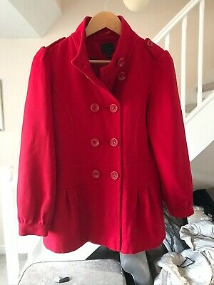 Next Girls Red Wool Mix Coat Age 11- 12 Years