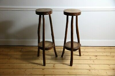 Primitive Timber Stools, 1960s Plant Stand Rustic Vintage