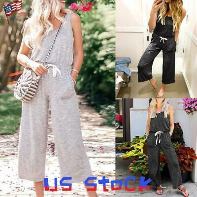 Summer Women's Drawstring Jumpsuit Vest Wide Leg Pants Slacks Pockets Casual US