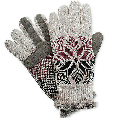 ISOTONER Gray Split Snowflake Chenille smarTouch Microluxe Tech Gloves One Size