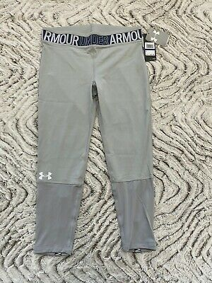 Under Armour Heatgear Girls Gray YXL Fitted Leggings $35 NWT #1347110-012