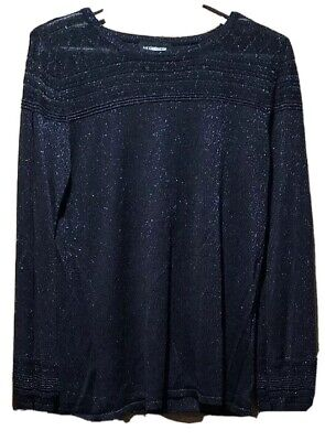 Liz Claiborne Career Women's Large Navy Blue Blouse. Glitter Free Shipping
