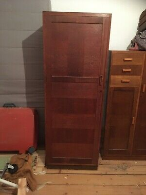 Vintage Oak / Mid 20th Century / Small Wardrobe / Panelled