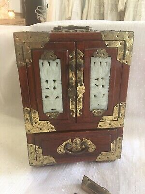 Antique Carved Jade Chinese Jewelry Box With Lock