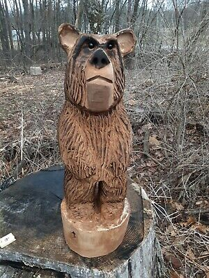 chainsaw carved handmade wood bear
