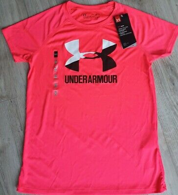 Pink Under Armour Loose Fit Heat Gear Top - Size YXL (Approx. Age 12)