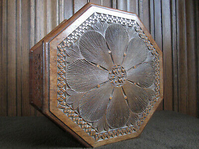 Carved Octagonal Box Friesian Arts & Crafts Folk Art Circa 1900 26cm Across