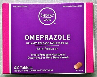 New in box 42 ct OMEPRAZOLE 20 mg tablets Delayed Release Acid Reducer ISRAEL