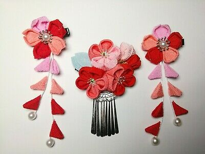 3 NEW Japanese Tsumami handmade fabric Kanzashi flower hair clip pin - red