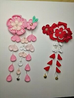 NEW Japanese Tsumami handmade fabric Kanzashi flower hair pin ornament Red Pink