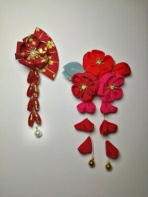2 NEW Japanese Tsumami handmade fabric Kanzashi flower hair clip pin - red