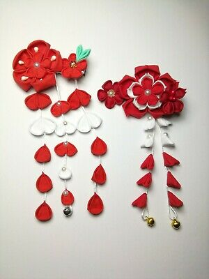 2 NEW Japanese Tsumami handmade fabric Kanzashi flower hair pin clip - red