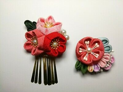2 NEW Japanese Tsumami handmade Kanzashi flower hair clip pin ornament - red