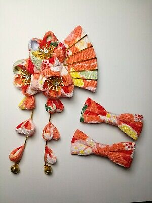 3 NEW Japanese Tsumami handmade fabric Kanzashi flower hair pin clip - orange