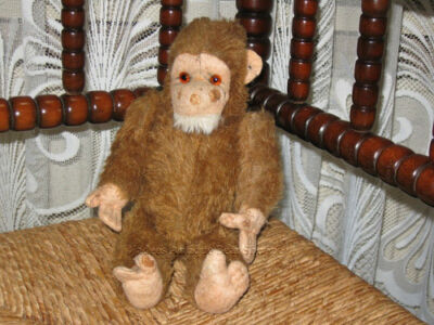 Old Antique German 1920s Steiff Brown Mohair Monkey 28 CM
