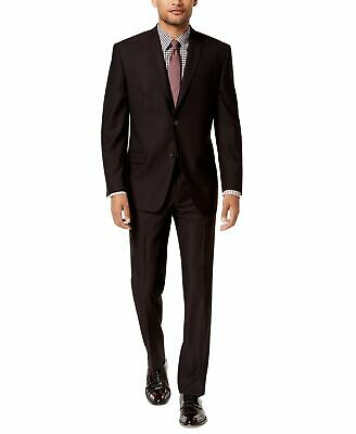 Marc New York Mens Suit Wine Purple Size 38 Notch-Collar Two Button $395 193