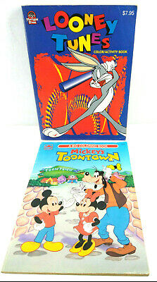 Vintage Disney Mickey Toon Town Looney Toons Bugs Bunny Coloring Books Lot of 2