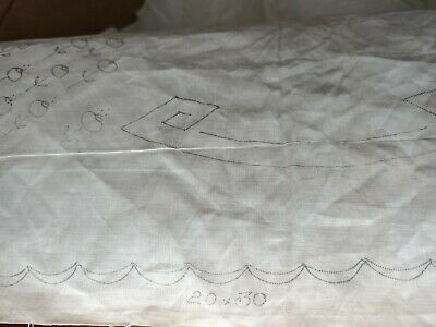 stamped linen for needlework and embroidery mat 20 x 30 inches vintage floral