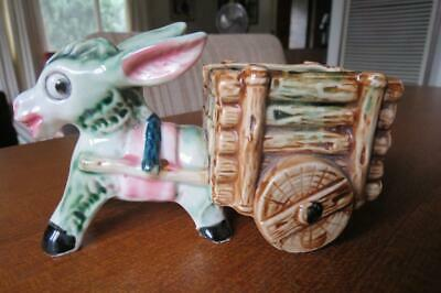 Vintage Retro - Donkey And Cart Planter - Excellent Condition
