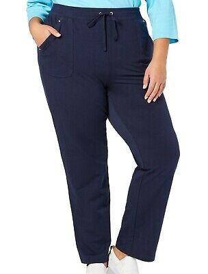 Karen Scott Womens Pants Navy Blue Size 2X Plus French Terry Stretch $54 196