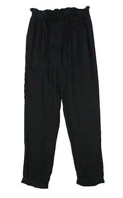 Fashion on Earth Womens Pants Black Size Medium M Paperbag Stretch $48 491
