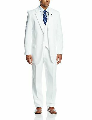 Stacy Adams Mens Suit Bright White Size 44 Vested 3 Piece Two Button $399 505