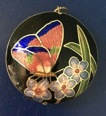 Vintage Chinese Cloisonné Enamel Puffy Pendant Double Sided Butterfly Flowers