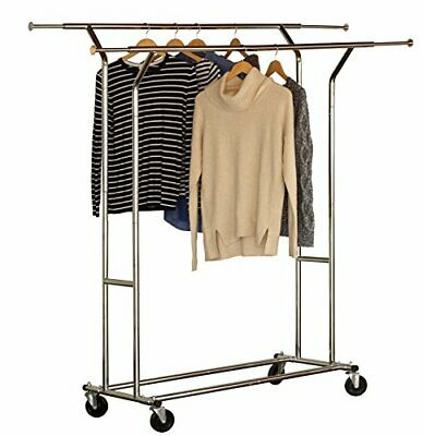 DecoBros Supreme Commercial Grade Double Rail Garment Rolling Rack, Chrome