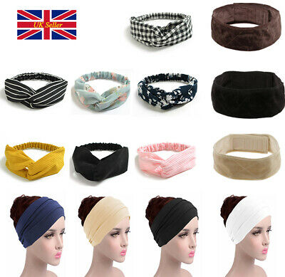 Women Soft Headband Alice Band Top Knot Fashion plain Headband Twist Hairband K
