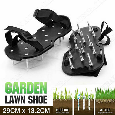 Heavy Duty Black Spikes Pair Lawn Garden Aerator Sandals Shoes Aerating Tools