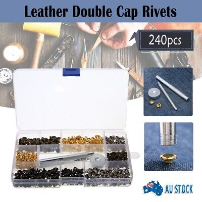 240 Set Leather Rivets Repair Cap Metal Button Tool Kit for DIY Leather Craft