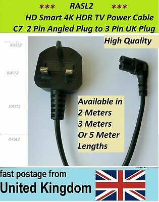 AC Mains Cable for Samsung QLED 4K HDR Smart TV C7 To UK Plug Sony LG Panasonic