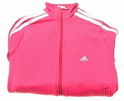 ADIDAS Girls Tracksuit Top Jacket 7-8 Years Pink Polyester  BK05