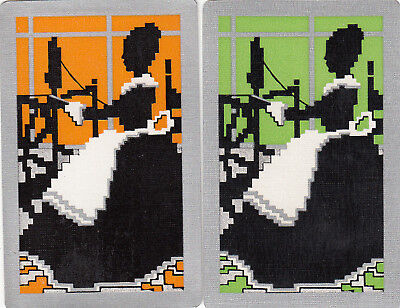 #76 2 (pair) vintage single playing swap cards - Deco Lady Spinning -JS