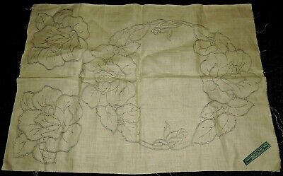 3 Piece Doily Set Rose Flowers Crewel Embroidery Stamped Traced Pure Irish Linen