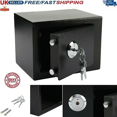 Steel SAFE Strong Security Key HOME OFFICE Money Cash Safety Fireproof Box BLACK