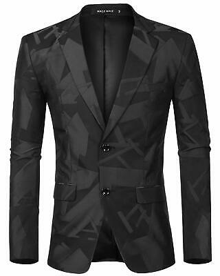 MAGE MALE Men's Dress Floral Blazer Suit Slim Fit Two Button Notched Lapel Elega