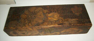 Flemish Art Pyrography Bass Wood Hand etched Incense materials Holding Box