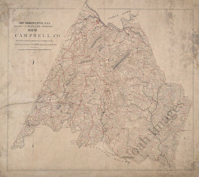 Map of Campbell County Virginia c1864 27x24