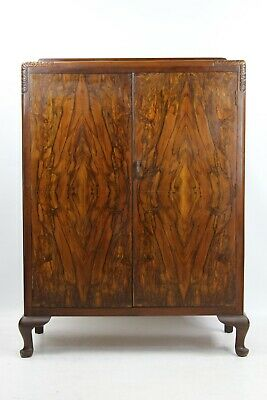 Small Art Deco Walnut Wardrobe - Vintage Hall Cupboard Tallboy Cabinet Armoire