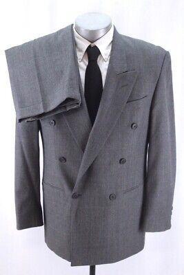 mens gray plaid YVES SAINT LAURENT 2pc PANT SUIT double breasted wool 40 R